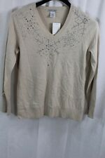 WOMENS ALBERTO MAKALI BEIGE V-NECK EMBELLISHED SWEATER SZ MEDIUM NEW W TAGS $89
