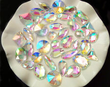 AB Clear / 100 Pieces Sew on Gems Mixed Shapes Flat Back size 6-40mm has holes