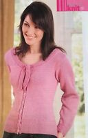 KNITTING PATTERN Ladies Neck Tie Cardigan Long Sleeve Round Neck Sublime PATTERN