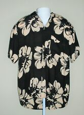 Coldwater Creek Mens Medium Black Short Sleeve Button Up Hawaiian Rayon Shirt