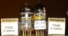 Very Strong Matched Pair Westinghouse 7308 Vintage Vacuum Tubes Goldpins