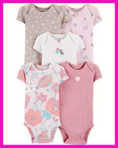 SET of 5 New Born BABY GIRL Floral Carter's Clothes. NEW! Bodysuites
