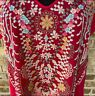 Johnny Was Fuchsia Pink Embroidered Blouse Tunic Top Sz LARGE Short Sleeve