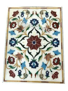 18 x 30 Inches Stone Inlay Center Table Top Marble Coffee Table Pietra Dura Art