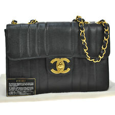 Auth CHANEL Jumbo Quilted CC Chain Shoulder Bag BK Caviar Leather VTG M11369