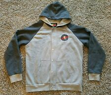 Red Bull Records Men XL Hoodie Jacket Gray Full Zip Music Pockets Snap Button