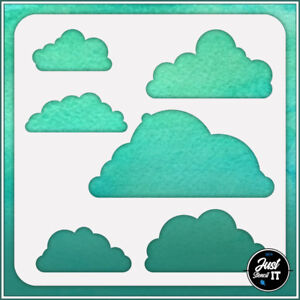 Clouds #3 - durable and reusable stencil for DIY painting & crafts