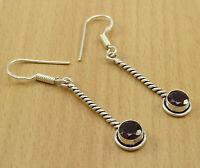 925 Solid Silver GARNET Stone Drop Dangle Earring Set Designer Indian Jewelry