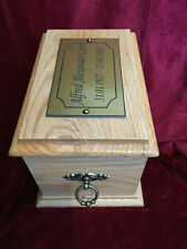 Oak Cremation Funeral Ashes Urn Casket With End Rings Side Panels & Plaque