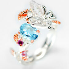Popular Flower Design Natural Blue Topaz 925 Sterling Silver Ring / RVS126