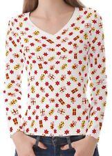 Hüftlange Damen-T-Shirts mit V-Ausschnitt in Größe XS
