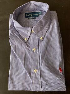 NEW Polo Ralph Lauren Men's Plaid Classic Fit Dress Shirt Royal/White 17-32/33