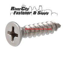 (100) #14 x 3/4 Phillips Flat Head Sheet Metal Screws Stainless Steel 1/4 x 3/4