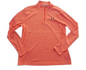 Under Armour Tech 1/4 Zip Long Sleeve Peach Loose Fit Shirt Size XL