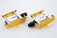 "[US SELLER] Wellgo R025 Bike Track Fixed Gear Fixie Road Pedals  9/16"" - Gold"
