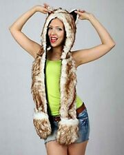 Brown Husky Anime Faux Animal Hood Hoods Mittens Gloves Scarf Spirit Paws Ears