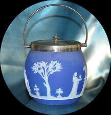 WEDGEWOOD BLUE JASPER BISCUIT BARREL ART DECO SILVER PLATED LID (1149)