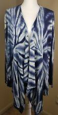 Chico's Tie dye Open Drape Cardigan sz 1 M 8 Silk blend blue white