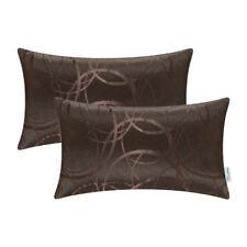 "2pcs Cushion Cover Bolster Reversible Striped Circle Sofa 12"" X 20"" Coffee"