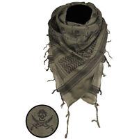 Skulls Shemagh Military Army Tactical Neck Arab Scarf Scrim Headscarf OD Green