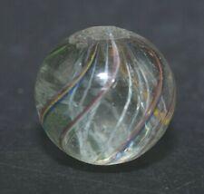 "Antique German Handmade 5 Color Latticinio Core Swirl Marble 13/16""  Mar450"