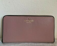 NWT Kate Spade Cobble Hill Lacey Large Zip Around Leather Wallet Makeup Pink