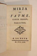1754 Saurin Mirza et Fatmé conte indien traduit de l'arabe satire politique EO