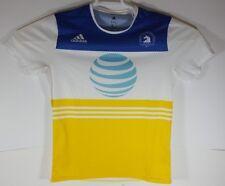 Rare Official Boston Marathon 2017 Adidas Running Shirt M White Blue Yellow AT&T