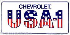 "Chevrolet USA-1 American Flag 6"" x 12"" Embossed Metal License Plate Tag"