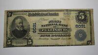 $5 1902 Pearisburg Virginia VA National Currency Bank Note Bill! Ch. #8091 RARE