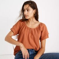 New Madewell Texture & Thread Tiered Sleeve Top - Sweet Dahlia Coral - Size 2X
