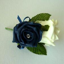 Navy Artificial Diamante Rose Corsage - Wedding Flowers