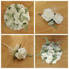 Artificial Wedding Flowers Ivory Rose - Brides Bouquet - Buttonhole