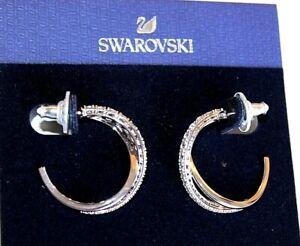 SWAROVSKI Earrings silver plated Hoops Wrap CZ women's new  $120