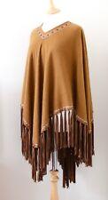 HERMES Paris vintage brown cashmere wool poncho cape leather fringe gold detail