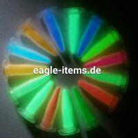 SET 15x Nachleuchtpigment BLAU GRÜN UV bastel LEUCHTEND Nachtleuchtfarbe