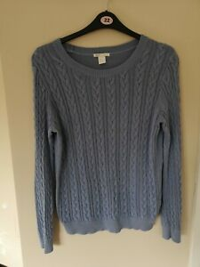 Jumper 14 Mid Blue Cotton knit cable knit long sleeve round neck H & M sweater