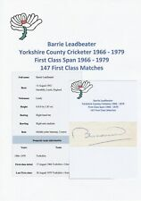 BARRIE LEADBEATER YORKSHIRE COUNTY CRICKETER 1966-1979 ORIGINAL AUTOGRAPH