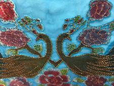 Pasmina Scarf Wrap Blue Peacock Ornate Beaded Beads Crushed Velvet Fringe Shawl