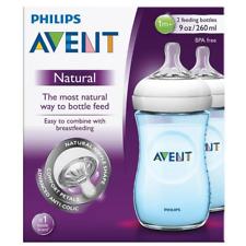 AVENT Natural Feeding Bottle Wide Breast Shape Teat Anti-colic 2 X 260ml Blue