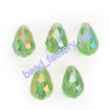 20Pcs New 10x15mm Faceted Glass Crystal Teardrop Spacer Loose Beads Lt Green AB