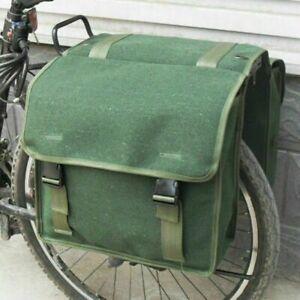 1980s Army Canvas Double Pannier Bags Green Bike Rear Seat Vintage Travel Retro