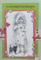 To a wonderful Granddaughter Birthday greeting card, girl & cat theme, brand new