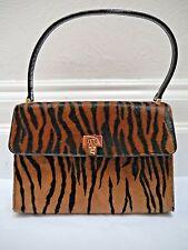LAMBERTSON TRUEX tiger calf hair top handle ladylike handbag CARRIED ONCE