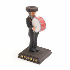 Jewish Funny Figurine Music playing Rabbi Judaica Israel clay Statue Stand
