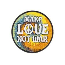 Iron or Sew On Embroidered Patch Tie Dye Style - Make Love Not War 8 cm