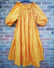 H&M S2020 Yellow Orange Off Shoulder Puff Balloon Sleeve Dress size S 8 10 12 14