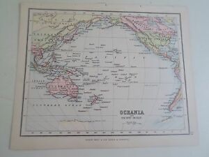 Antique Map 1890 ~ OCEANIA+PACIFIC OCEAN - From Philips Atlas For Beginners  §33