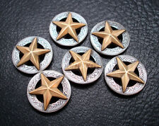 "Set of 6 WESTERN HORSE TACK SADDLE ANTIQUE GOLD STAR CONCHOS 1-1/8"" SCREW BACK"