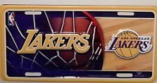 NEW LOS ANGELES LAKERS 3D METAL LICENSE PLATE TAG NBA LICENSED BASKETBALL RARE